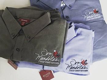 Custom embroidered Red House shirts for Tony Mandolas